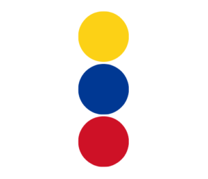 trzy pionowe kropki żółta niebieska czerwona