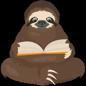 leniwiec czyta książkę