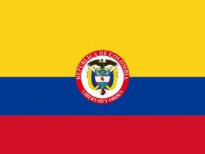flaga kolumbii z godłem
