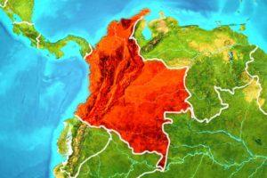 mapa z kolumbią na czerwono