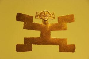 Ozdobna figura ze złota przedstawiająca człowieka jaguara