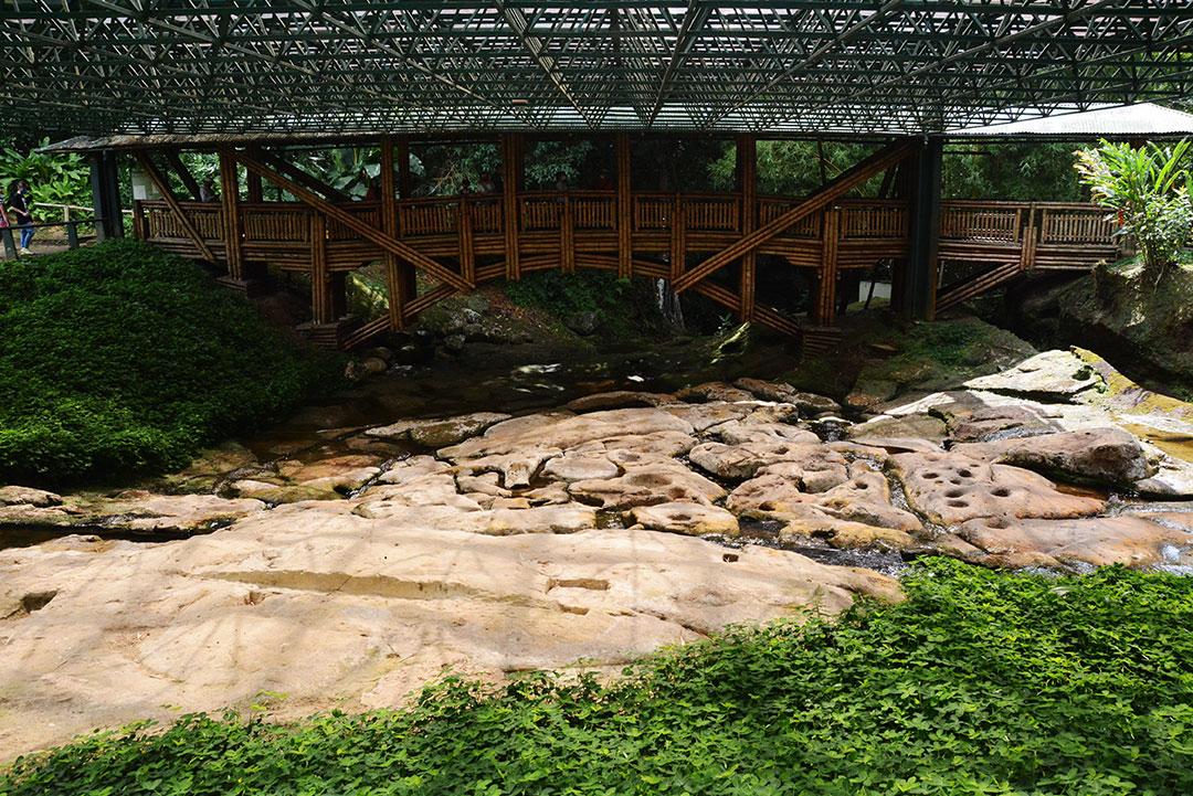 nad kamienistym wyrzeźbionym podłożem wznosi się most z bambusa i dach chorniący podłoże